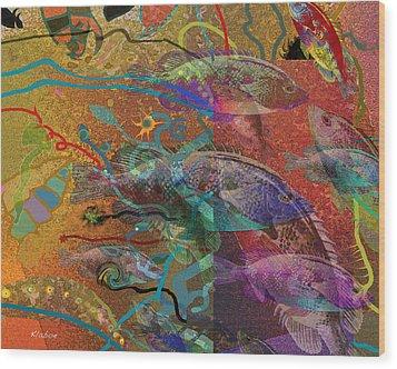 Swim Wood Print by David Klaboe