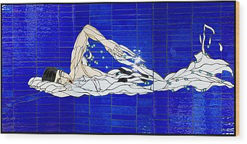 Swimmer Wood Print by Kimber Thompson