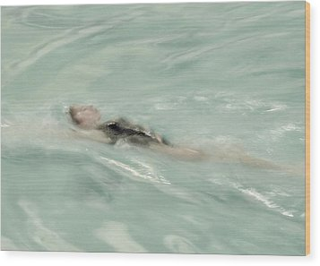 Swimmer Wood Print by Patricia Strand