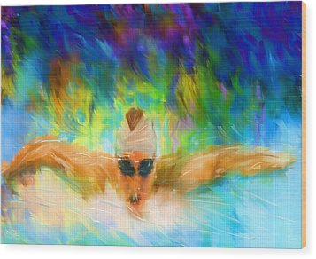 Swimming Fast Wood Print by Lourry Legarde