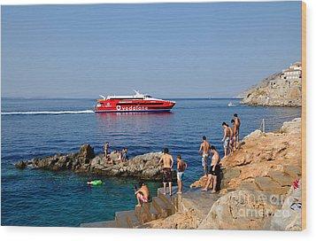 Swimming In Hydra Island Wood Print by George Atsametakis