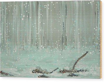 Swimming Leaves Wood Print by Marisela Mungia