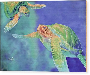 Swimming Seaturtles Wood Print by Anke Wheeler