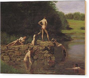 Swimming Wood Print by Thomas Eakins
