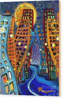 Swing City Wood Print by Carol Jacobs
