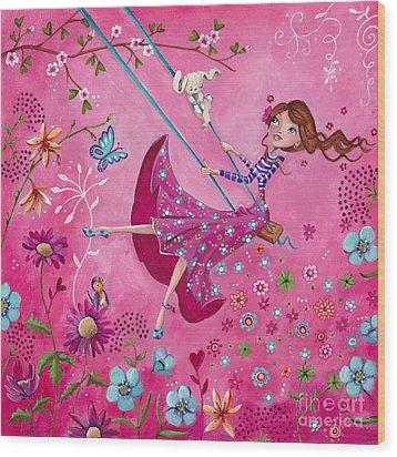 Swing Girl Wood Print by Caroline Bonne-Muller