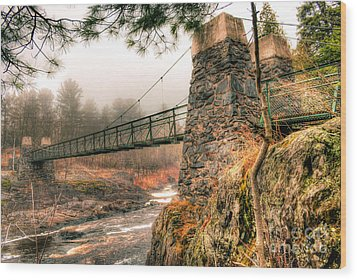 Wood Print featuring the photograph Swinging Bridge Before The Storm by Mark David Zahn