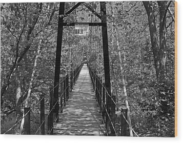 Swinging Bridge Patapsco State Park Bw Wood Print