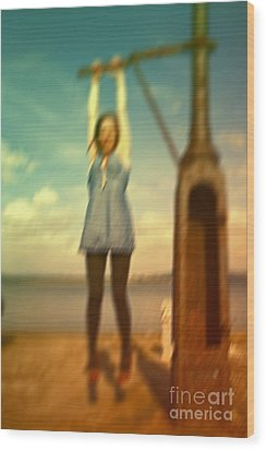 Wood Print featuring the photograph Swinging From Lampost  by Craig B