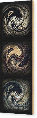Swirl Design Triptych Wood Print by Sarah Loft
