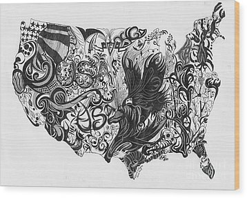 Swirlin Usa Wood Print