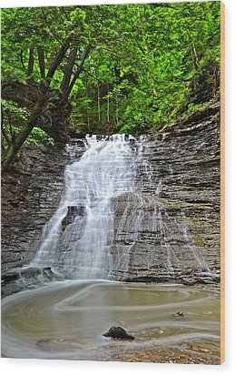 Swirling Falls Wood Print by Frozen in Time Fine Art Photography