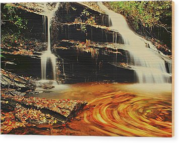 Swirling Leaves Wood Print by Rodney Lee Williams
