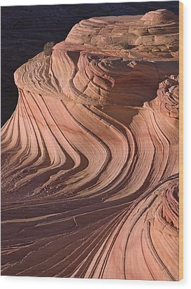 Swirling Sandstone At Sunset Wood Print