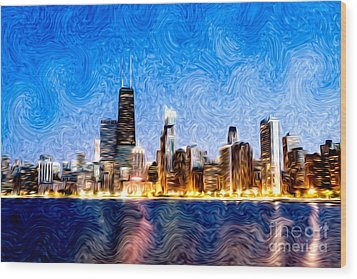 Swirly Chicago At Night Wood Print by Paul Velgos