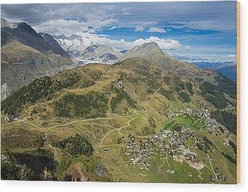 Swiss Alps Great View Towards Riederalp Aletsch Forest And Aletsch Glacier Wood Print by Matthias Hauser