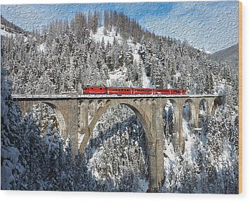 Swiss Bridge - Snow Painting Wood Print by Mike Rampino