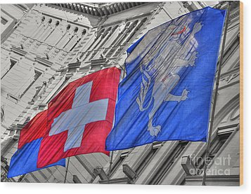 Swiss Flags  Wood Print by Mats Silvan