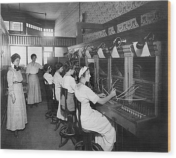 Switchboard Operators Wood Print by Underwood Archives