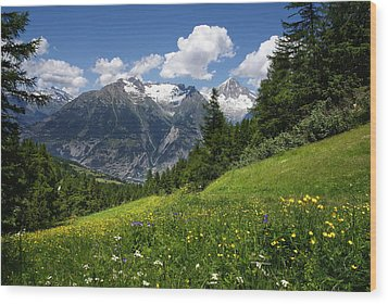 Wood Print featuring the photograph Switzerland Bietschhorn by Annie Snel