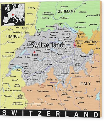 Switzerland Exotic Map Wood Print by Florene Welebny