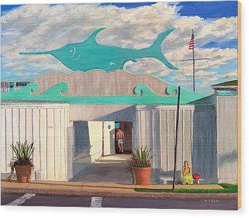 Swordfish Beach Club Wood Print