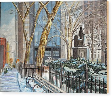 Sycamores Madison Square Park Wood Print by John W Walker