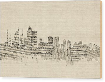 Sydney Australia Skyline Sheet Music Cityscape Wood Print by Michael Tompsett