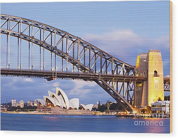 Sydney Harbour Bridge And Opera House Wood Print