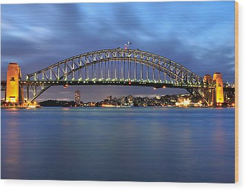Sydney Harbour Bridge At Twilight Wood Print by Photography  By Sai