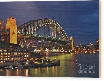 Sydney Harbour Bridge By Night Wood Print by Kaye Menner