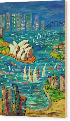 Sydney Harbour Wood Print by Lyn Olsen