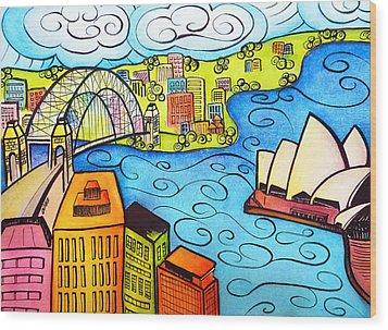 Sydney Harbour  Wood Print by Oiyee At Oystudio