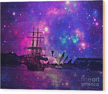 Sydney Harbour Through Time And Space Wood Print by Leanne Seymour