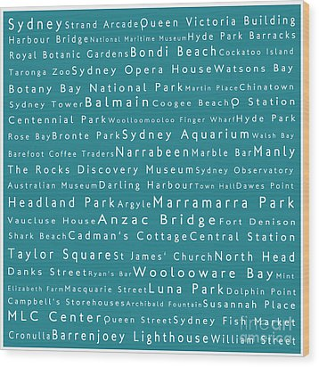Sydney In Words Teal Wood Print