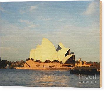 Sydney Opera House Painting Wood Print by Pixel Chimp