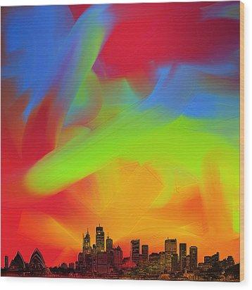Sydney Skyline In Oils Wood Print by Andy Walsh