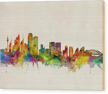 Sydney Skyline Wood Print by Michael Tompsett