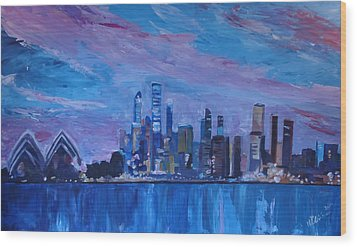 Sydney Skyline With Opera House At Dusk Wood Print by M Bleichner