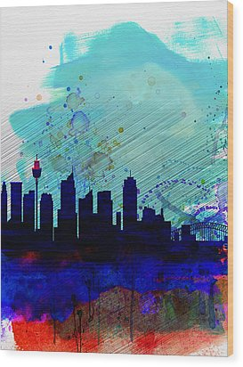 Sydney Watercolor Skyline Wood Print by Naxart Studio
