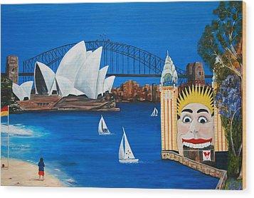 Sydneyscape - Featuring Luna Park  Wood Print by Lyndsey Hatchwell