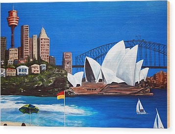 Sydneyscape - Featuring Opera House Wood Print by Lyndsey Hatchwell