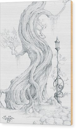 Wood Print featuring the drawing Sylvia And Her Lamp Drawing by Curtiss Shaffer