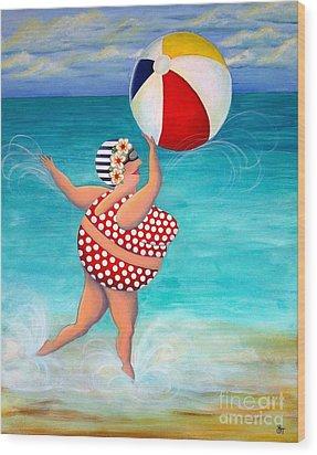 Sylvia At The Beach Wood Print