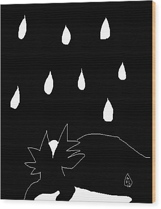 Wood Print featuring the painting Sylvia In The Rain by Anita Dale Livaditis