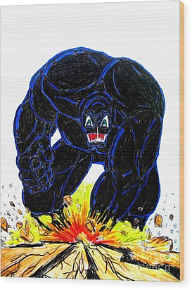 Wood Print featuring the drawing Symbiote Guy by Justin Moore