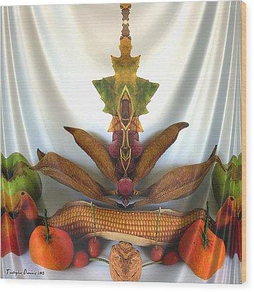 Symmetric Life. Two Ripe Tangerine. 2013 80/80 Cm.  Wood Print by Tautvydas Davainis