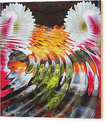 Symmetric Still Life. Flowers In The Water. 2013 80/80 Cm.  Wood Print by Tautvydas Davainis