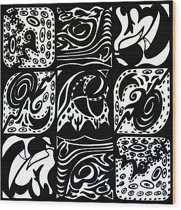 Symmetrical Illusion Abstract Wood Print by Mukta Gupta