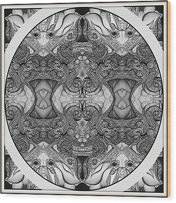 Symmetry  In Black And White Wood Print